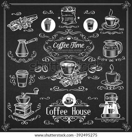 Decorative vintage coffee icons.  Ink vintage design for coffee shop. Vector design elements  of coffee and calligraphy swirl. - stock vector