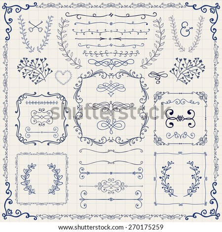 Decorative Vintage Colorful Hand Sketched Doodle Design Elements. Frames, Dividers, Swirls, Branches, Borders. Pen Drawing Vector Illustration - stock vector