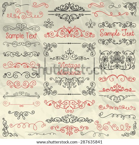 Decorative Vintage Colorful Hand Sketched Doodle Design Elements. Frames, Dividers, Swirls, Branches, Borders. Pen Drawing Vector Illustration. Crumpled Paper Texture. Pattern Brushes - stock vector