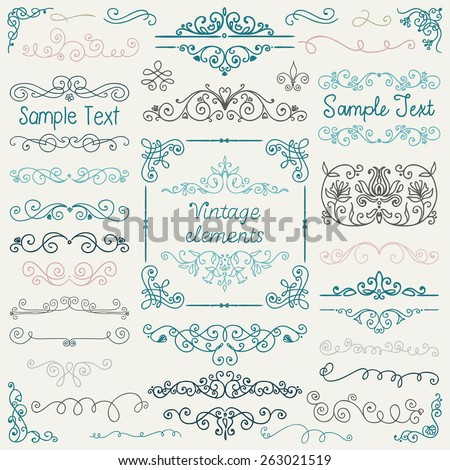 Decorative Vintage Colorful Hand Sketched Doodle Design Elements. Frames, Dividers, Swirls. Vector Illustration - stock vector