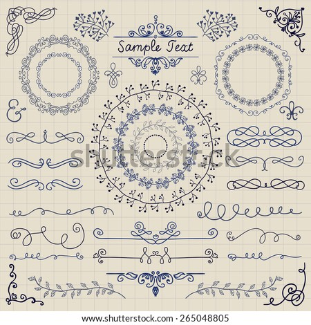 Decorative Vintage Colorful Hand Sketched Doodle Design Elements. Frames, Dividers, Swirls. Vector Illustration. Pen Drawing, Paper Texture - stock vector