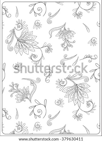 Decorative vintage flowers pattern. Good for coloring book for adult and older children. Coloring page. Outline drawing. Vector illustration.