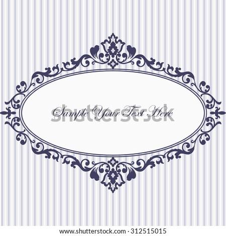 Decorative vintage frame. Elegant invitation card. Vector damask illustration. - stock vector