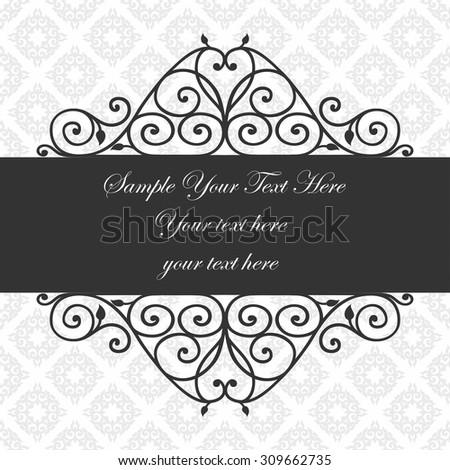 Decorative vintage frame. Swirl divider and header. Beautiful floral greeting card. Elegant invitation. Vector damask illustration. - stock vector