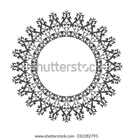 Decorative vintage frame. Vector damask illustration. - stock vector