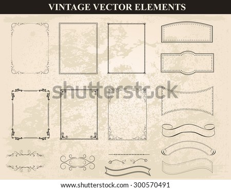 Decorative vintage frames and borders set vector.Abstract vintage frame design in various styles. Vintage Ornament  - stock vector