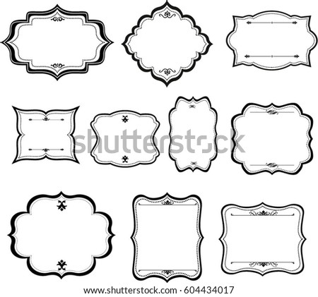 Decorative Vintage Graphic Frames Borders Set Stock Vector 604434017 ...