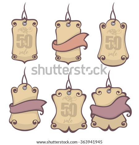 decorative vintage hang tags collection - stock vector
