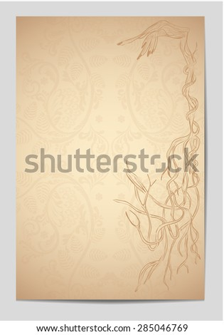 Decorative vintage old page. Flayers, cards, greeting cards, gift cards. Vintage pattern, ethnic style, folklore, traditional, book. Stylized wooden hand. The texture of the tree. The original frame. - stock vector