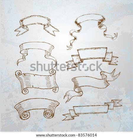 decorative vintage ribbons - stock vector
