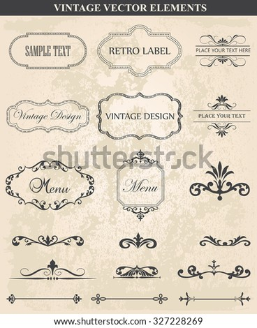 Decorative vintage set of calligraphic design elements: frames, borders, floral ornaments,  page decoration. Abstract vintage frame design in various styles. Vector Vintage Ornament  - stock vector