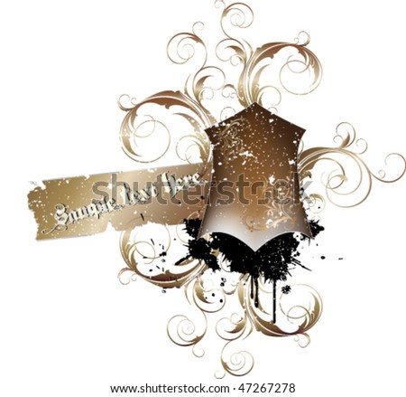 decorative vintage shield and banner with grunge and floral elements - stock vector