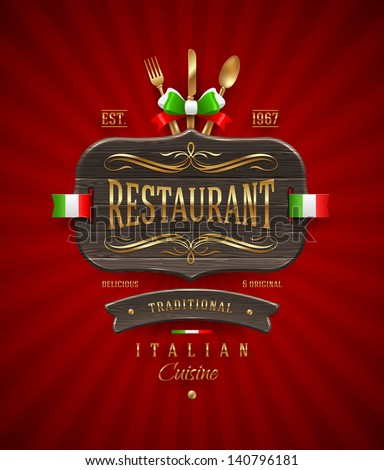 Decorative vintage wooden sign of Italian restaurant with golden decor and lettering - vector illustration - stock vector