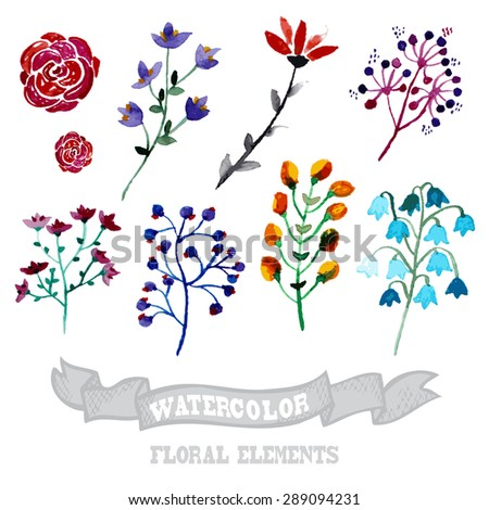 Decorative watercolor floral branches, design elements. Can be used for wedding, baby shower, mothers day, valentines day cards, invitations. Painted flowers - stock vector