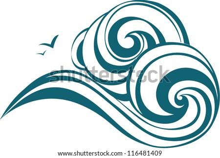 Decorative waves. Sea ornament - stock vector