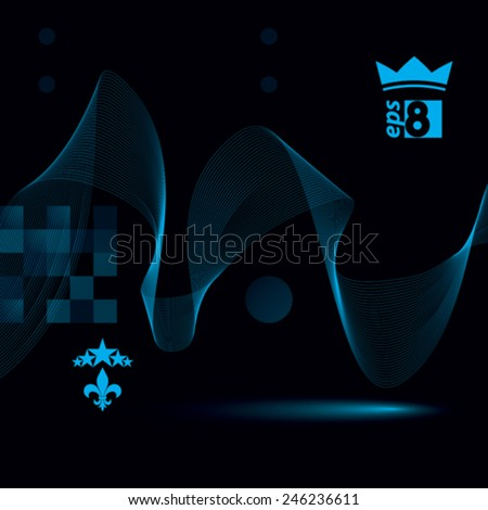 Decorative wavy template, vector background with silky textile curves, dark  motif 3d abstract backdrop. - stock vector