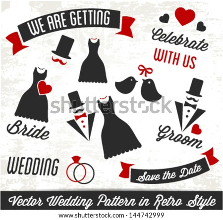 Decorative Wedding Pattern in Retro Style - stock vector