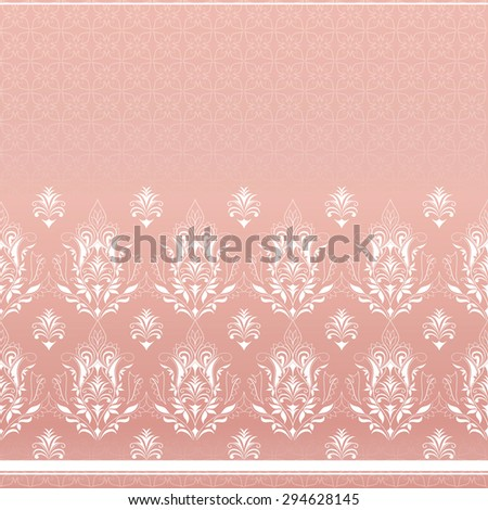 Decorative white border.  Element for design. Ornamental backdrop. Pattern fill. Ornate floral decor for wallpaper. Traditional decor on terracotta background. - stock vector