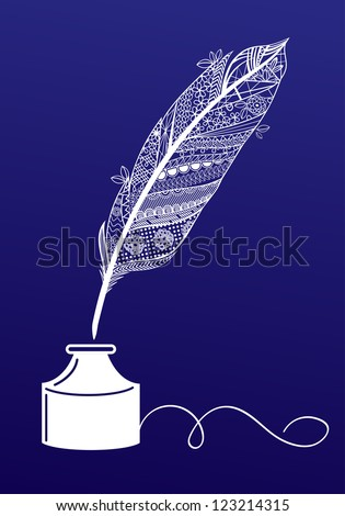 Decorative writing feather - stock vector