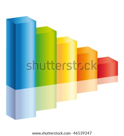 Decrease colorful stick diagram icon with reflection. Vector icon. - stock vector