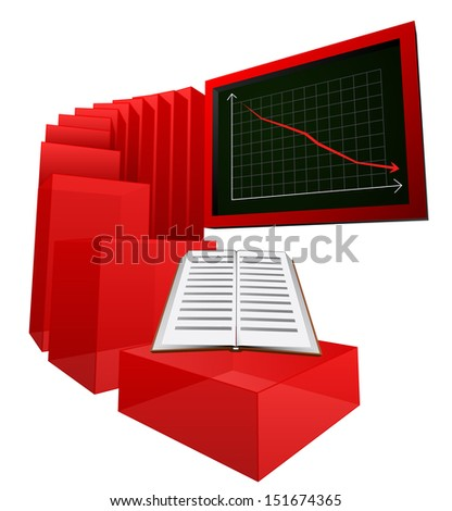decreasing graph of education level vector illustration - stock vector