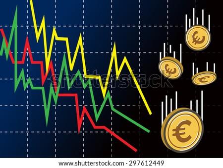 decreasing graph with euro money. vector background - stock vector