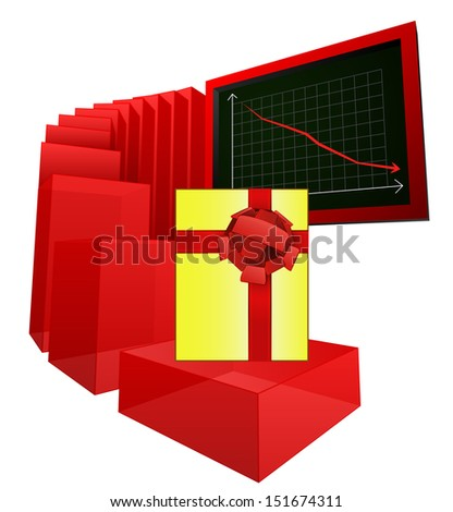 decreasing level of gift shopping analysis vector illustration - stock vector