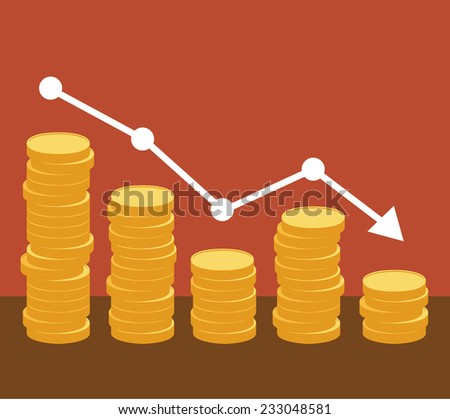 Decreasing piles of coins with going down graph. Concept for financial fall. Vector eps10.