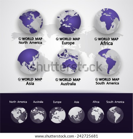 Deep Blue World Map vector illustration - stock vector