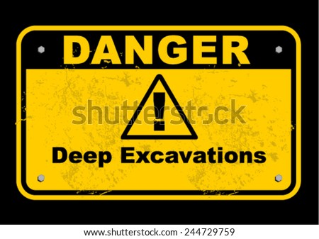 deep excavation - stock vector