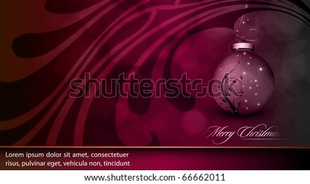 Deep Purple Christmas Greeting with Floral Globe and Golden Decoration | EPS10 Vector Background | Separated on Layers Named Accordingly - stock vector