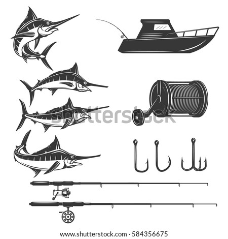 Deep sea design elements isolated on white background. Sword fish icons. Images for logo, label, emblem, sign, menu. Vector illustration.