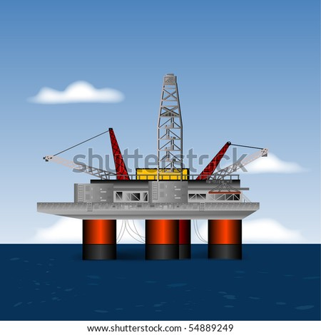 Deep Sea Drilling Platform, Vector - stock vector