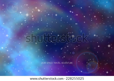 deep space colorful vector background with stars and lighting - stock vector