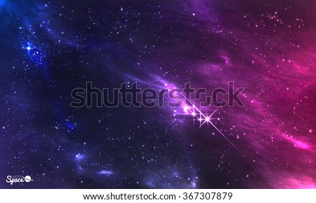 Deep space. Vector illustration of cosmic nebula with star cluster. - stock vector