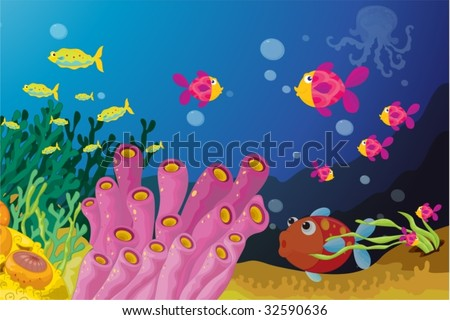 Deep water fish in their nautral enviroment - stock vector
