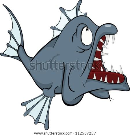 Deep water fish. Predator. Cartoon - stock vector