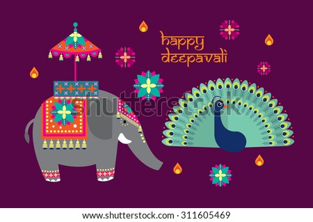 deepavali/diwali elements vector/illustration - stock vector