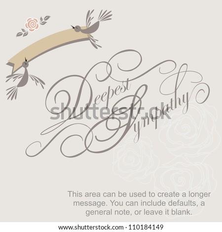 Deepest Sympathy Vector Lettering, condolence card - stock vector