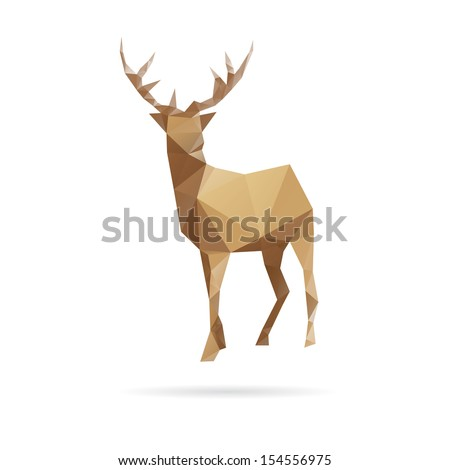 Deer abstract isolated on a white backgrounds, vector illustration - stock vector