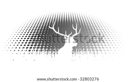 Deer and Halftone Effect - stock vector