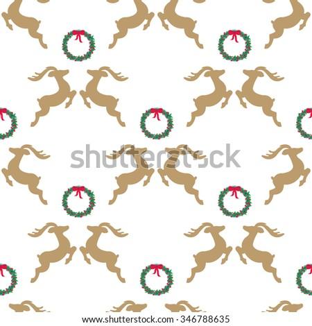 deer and mistletoe seamless background. EPS 8 - stock vector