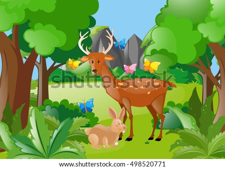 Deer and rabbit in the woods illustration