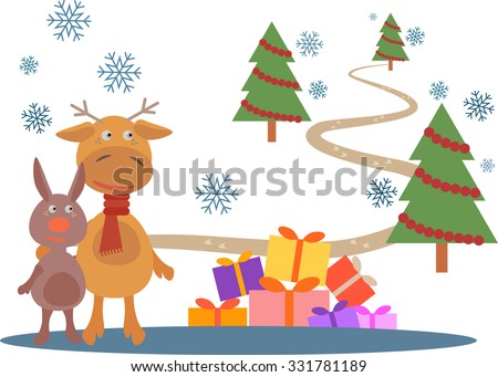Deer and rabbit staying near of gifts on snow.  Christmas trees and way are on background.