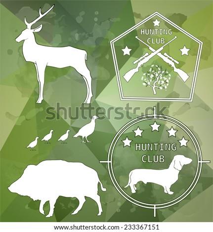 deer, boar, quail, hunting, logo elements - vector illustration - stock vector