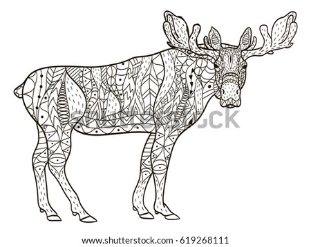 Deer Coloring Book Vector Illustration Anti Stress For Adult Zentangle Style