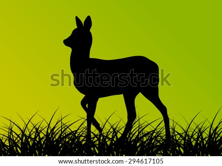 Deer doe in grass field vector background ecology concept - stock vector