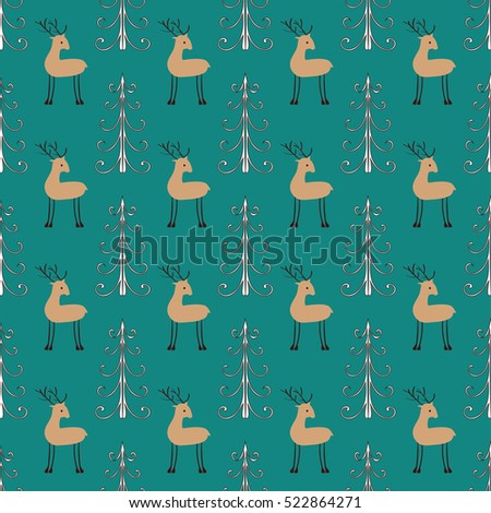 Deer forest seamless pattern. Ethnic ornament vector background.