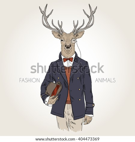 deer gentleman with hat, furry art illustration, fashion animals; hipster animals - stock vector