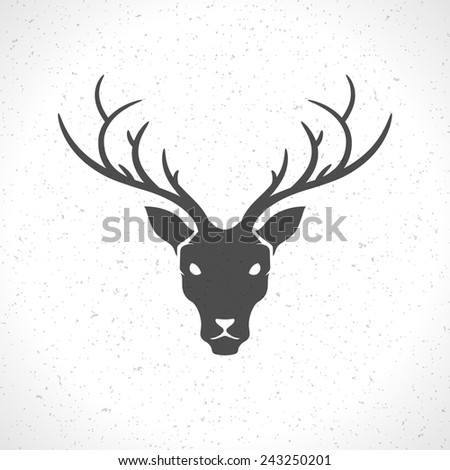 Deer head and horns face logo emblem template for business or t-shirt design. Vector Vintage Design Element. - stock vector